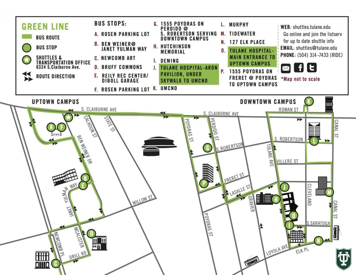 green line  shuttles  transportation - to view fullsize schedule and map click the images below